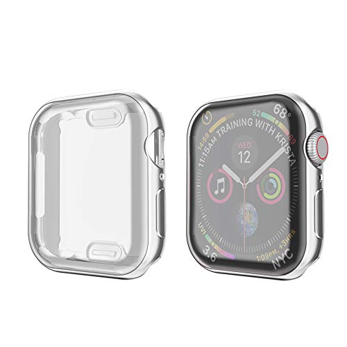 amBand Compatible for Apple Watch Series 4 Screen Protector 44mm, Full Cover TPU Case Bumper Compatible for iWatch Series 4 Silver