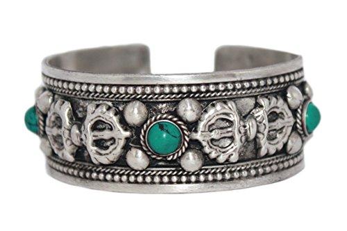 Tibetan Cuff Bracelet Turquoise Bracelet Nepal Bracelet Bohemian Bracelet Silver Bracelet BB254