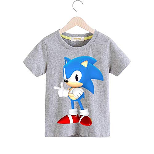 Boys Cartoon The Hedgehog Clothes Girls 3D Funny T-Shirts Costume Children Spring Clothing Kids Tees Top Baby T Shirts (Grey, 5T) -