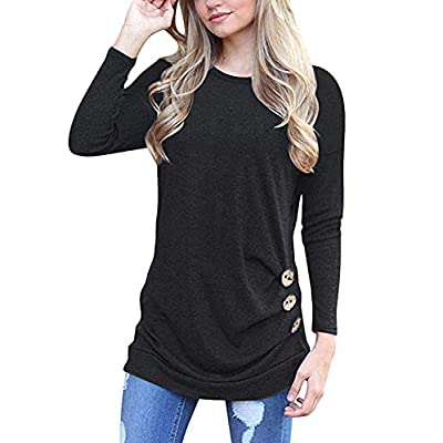 MOLERANI Women's Casual Long Sleeve Round Neck Loose Tunic T Shirt Blouse Tops at Women's Clothing store