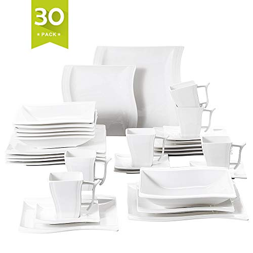 Malacasa 30 Piece Porcelain Dinnerware Set Service for 6, Square Plate Sets White Dinner Plates Soup Plates Dessert Plates Cups Saucers, Series Flora