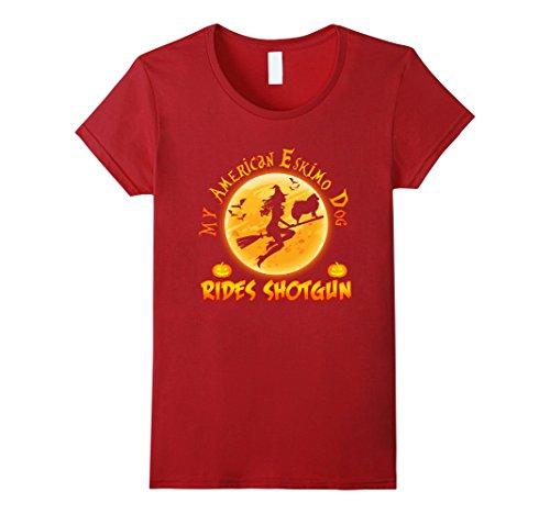 Eskimo Halloween (Womens My American Eskimo Dog Rides Shotgun Halloween Gift T-Shirt Large Cranberry)
