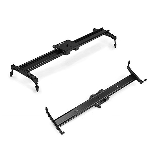 Koolertron Aluminum Alloy Video Track Slider in Video Shooting Rail Stabilization System With 1/4'' and 3/8'' Screw for Canon Nikon Sony DSLR Cameras Camcorders (60cm / 24'' Length, Black) by Koolertron