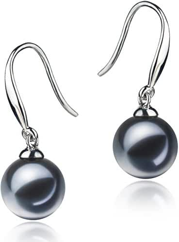 PearlsOnly - Yoko Black 7-8mm AAAA Quality Freshwater 925 Sterling Silver Cultured Pearl Earring Pair