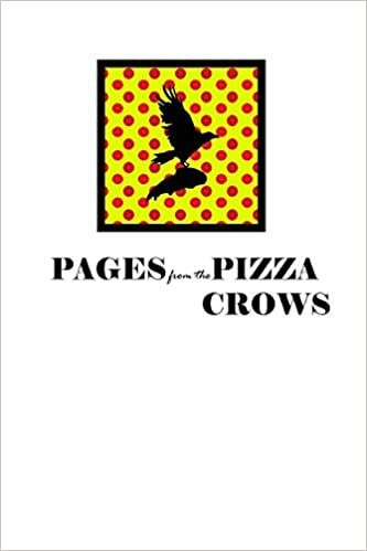 The silhouette of a crow in flight, carrying a slice of pizza, in front of a red and yellow dot grid