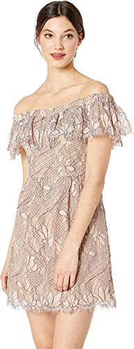 WAYF Women's Terrace Scallop Lace Mini Dress Blush Black Lace Large