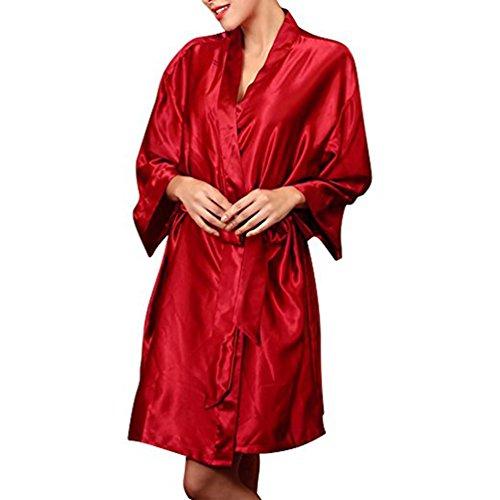Chiffon Loungewear Elegante Affascinante Rosso TieNew Abiti Accappatoio Media Colore Kimono Pigiami Vestaglia normale Raso Taglia Seta Donne Vestiti Notte 1YUqPqIR
