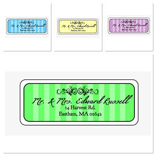 Madison Stripe Personalized Address Labels, Set Of 30, Personalized Wedding Address Labels, Engagement Labels, Bridal Labels (Stripes Address Label Big)