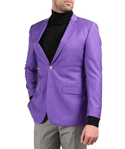 Ferrecci Men's Warwick Gold Button Slim Fit Purple Blazer - 52L]()