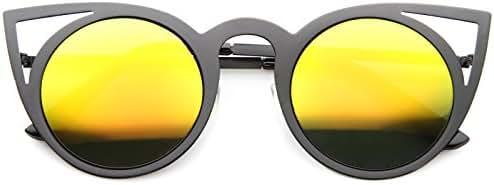 Womens Fashion Round Metal Cut-Out Flash Mirror Lens Cat Eye Sunglasses