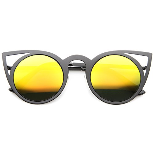 zeroUV - Womens Fashion Round Metal Cut-Out Flash Mirror Lens Cat Eye Sunglasses (Black / Yellow - Glasses And Black Yellow