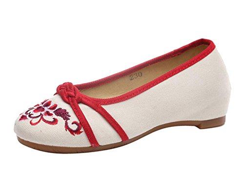 SMITHROAD Damen/Mädchen Slipper Mary Jane Halbschuhe mit Blockabsatz Blumen Stickmuster Schlupf Sandalen Viele Faben Gr.34-41 04 Rot