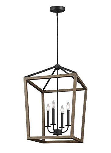 Feiss F3191/4WOW/AF 4-Light Chandelier 4, Weathered Oak Wood/Antique Forged (Forged Iron 5 Light Chandelier)