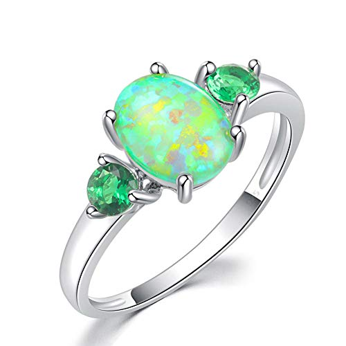 CiNily Silver Green Fire Opal Emerald for Women Jewelry Gemstone Ring Size 5-13 (7)