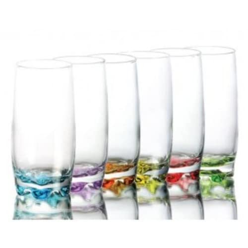 Set of 6 highball Clear Glass Contemporary Multicoloured 350ml water juice cocktail