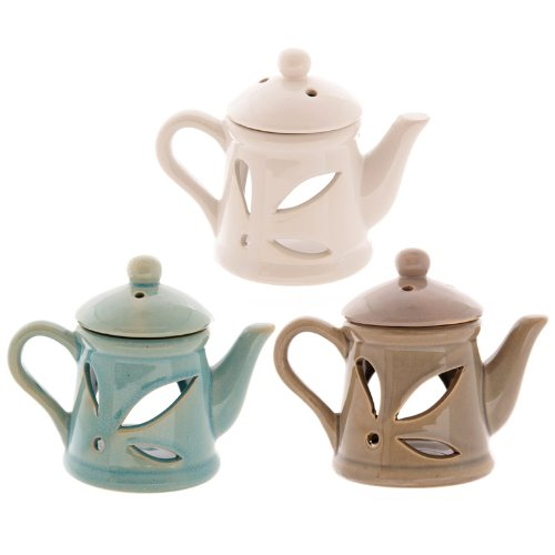 Ceramic Teapot Oil Burner with Lid Puckator