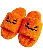 Tumnea Pantoffels voor Halloween, pompoen, pantoffels met grappig gezicht, traagschuim, antislipschoenen voor binnen en buiten
