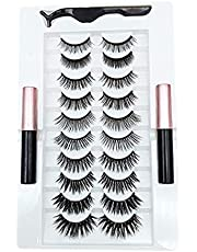 CESUO 10 Pairs Magnetic Eyelashes with Eyeliner Kit Waterproof Long Lasting Eyelash Extension with Eyelash Applicator