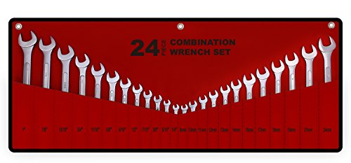 "End Combination Wrench - Best Value 24-Piece Master Combination Wrench Set with Roll-up Storage Pouch | SAE 1/4"" to 1"" & Metric 8mm to 24mm"