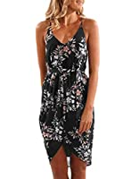 Asvivid Womens Summer Floral Printed Wrap V Neck Spaghettic Strap Split Casual Beach Dress with Belt