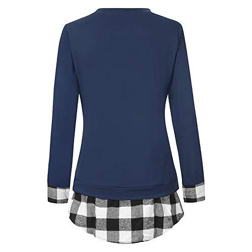 Donna Casuale Blu Lunga Manica Patchwork Camicia Tunica Plaid Camicetta Zolimx Cime blue Donne Tumblr Stampa Camicetta 6qnwI1t