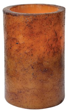 Burnt Mustard LED Timer Pillar Candle Country Primitive Lighting Décor