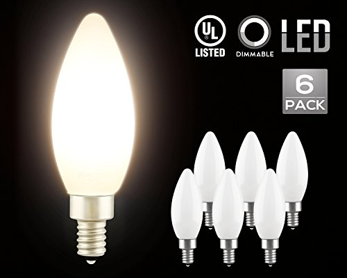 LED Dimmable Frosted Glass Filament Candelabra Bulb, 4.5W (60W Equiv.) C11 Decorative Milky Candle Bulb, UL-listed, 2700K Soft White, 360° Beam Angle, E12 Base, 2 YEARS WARRANTY, Pack of 6