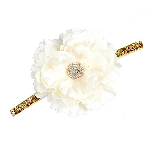 Floral Fall Baby Girls Gold Hair Bands Crystal Peony flower Crown headpiece BY-32 -