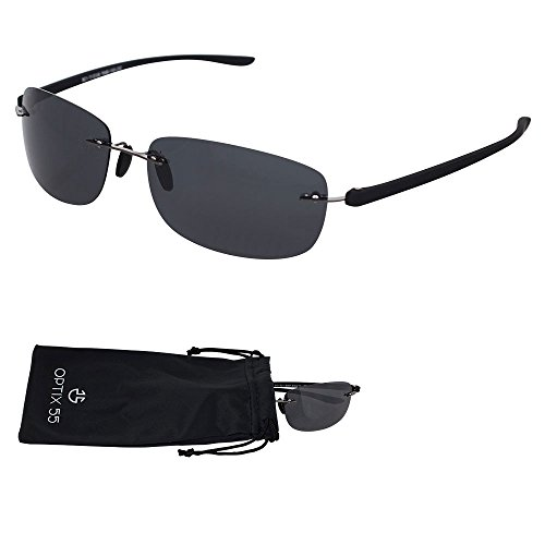 Rimless Polarized Sunglasses With Microfiber Pouch - Lightweight Unisex Frame With UV Ray Protection Lenses -By Optix - Frames Branded Rimless