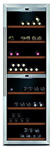CASO WineComfort 180 Design Weinkühlschrank für bis zu 180 Flaschen (bis zu 310 mm Höhe), zwei Temperaturzonen 5-20°C, Getränkekühlschrank [Energieklasse C] 670