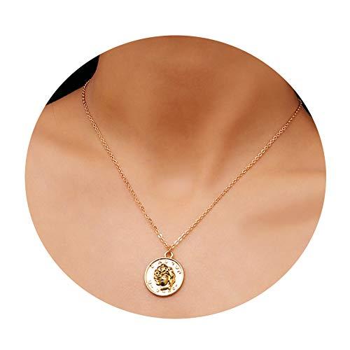 (Y&M Choker Necklaces Handmade 14K Gold Filled Simple Religious Portrait Pendant Necklace)