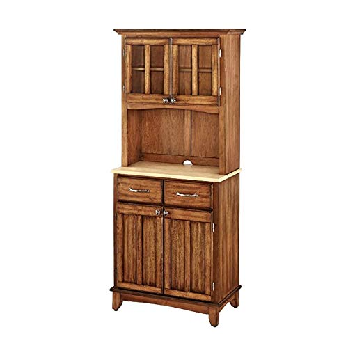 ghy Farmhouse Buffet Cabinet Two-Door Natural Wood Top Cottage Oak Hutch Adjustable Shelf Drawers Kitchen Dining Room Traditional Style & eBook by JEFSHOP