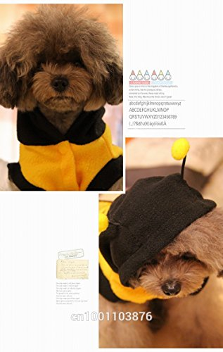 Size XS Dogs clothes Cute Fleece Bumble Bee Lovely Wings Dog Cat Pet Harness Costume Apparel Clothes Coat pets hoodies (Pet Bumblebee Costume)