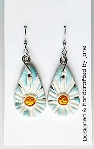 White and Yellow Daisy Blue Large Lightweight Earrings Handcrafted Polymer Clay Alcohol Ink French Hooks