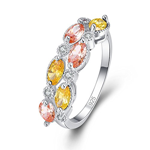 Veunora 925 Sterling Silver Morganite and Citrine Filled Ring Band for (Polished Wreath Charm)