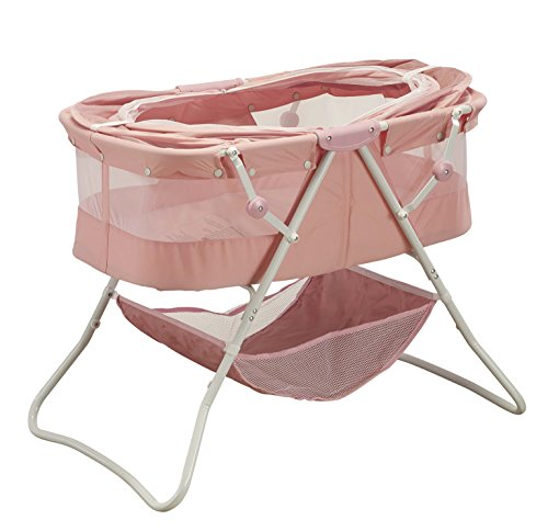 Big Oshi Emma Newborn Baby Bassinet - Portable Bassinet for Boys or Girls - Perfect for Bedside, Indoors, or Outdoors - Lightweight for Travel - Canopy Netting Cover - Wood Bed Base, Pink