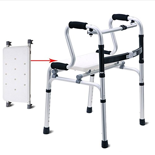 ZXQQQ Walker for Seniors with Seat Folding Slides Rolling Ultra Walkers with Wheels and Hand Grip Lightweight Bath Chair for Man and Woman Silver