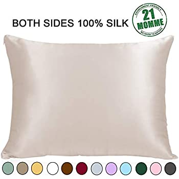 Ravmix 100% Pure Natural Mulberry Silk Pillowcase Queen Size for Hair and Skin, 21 Momme 600TC Hypoallergenic Both Sides Soft Breathable with Hidden Zipper, 20×30 inches, 1-Pack, Beige