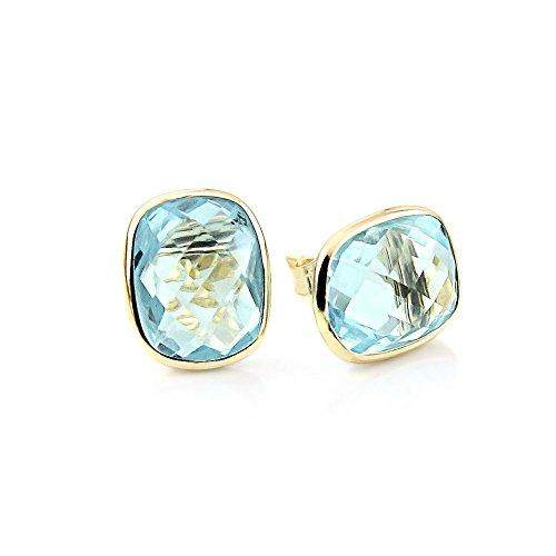 14k Yellow Gold Stud Earrings With Cushion Cut Blue Topaz - Gemstone Studs
