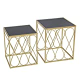 great round glass patio table Adeco FT0258-gold Decorative Nesting Round Side Accent Plant Stand Chair for Bedroom, Living Room and Patio, Set of 2 End Tables Champagne Gold,Black Glass
