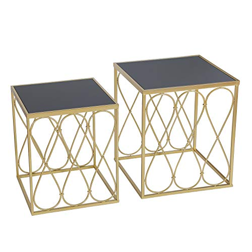 Adeco FT0258-gold Decorative Nesting Round Side Accent Plant Stand Chair for Bedroom, Living Room and Patio, Set of 2 End Tables Champagne Gold,Black Glass