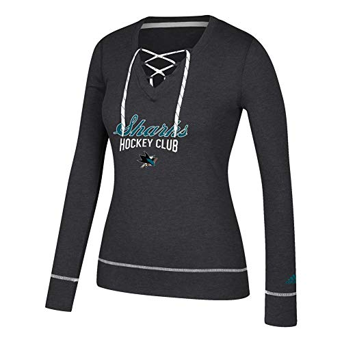 Sleeve Hockey Long Skates (adidas San Jose Sharks Womens Long Sleeve Skate Lace Top (Large))