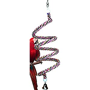 Bonka Bird Toys 1022 Huge Rope Boing Coil Swing Bird Toy Parrot cage pet Stand Perch Macaw Cockatoo Amazon African Grey Play chew Aviary Bungee Accessories Colored Playground 106