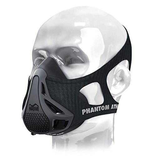Phantom Athletics Black Workout Training Mask for Endurance Sports, High Altitude Elevation Effects, Strengthen Lungs and Breathing Muscles with 4 Levels of Resistance, Size: M
