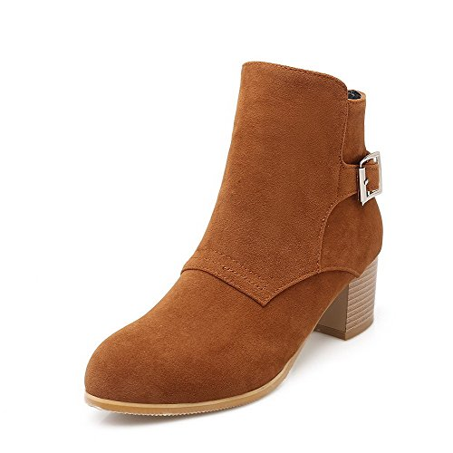 AgooLar Women's Frosted Zipper Round Closed Toe Kitten-Heels Low-Top Boots Brown