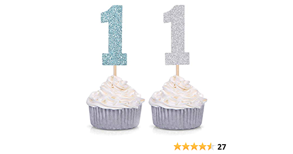 12 CUPCAKE PICK TOPPERS 1st CELEBRATION SILVER NUMBER 1 WITH BABY BLUE BOW