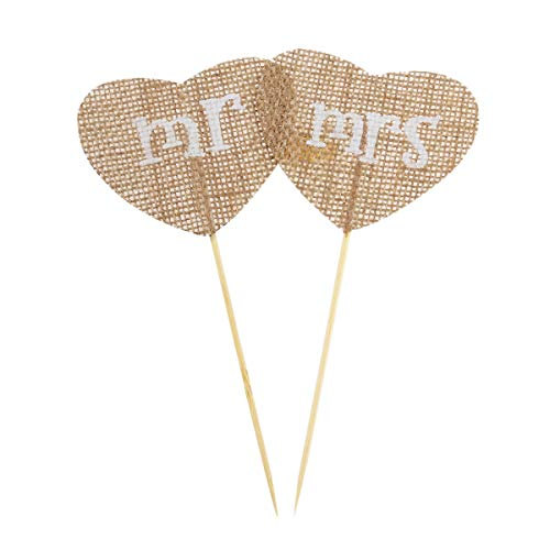 2Pcs/Set Mr Mrs Flower Cake Topper Natural Jute Burlap Hessian Vintage Wedding Decoration Rustic Classic for Wedding Decoration