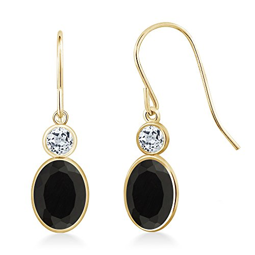 1.64 Ct Oval Black Onyx White Topaz 14K Yellow Gold Earrings 14k Yellow Gold Onyx Earrings