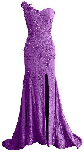 Mermaid Formal Amethyst Prom Dress Evening Lace One Long MACloth Shoulder Women Gown qw8x7CP