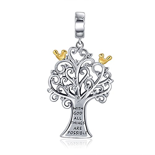 - with God All Things are Possible Family Tree of Life Pendant 925 Sterling Silver Charms for Bracelets Necklace